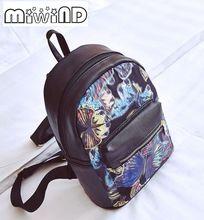 Miwind-F бабочка качество печати сумки на плечо, Женская мода ранцы, Весна-осень ПУ известных брендов милый рюкзак Mochila