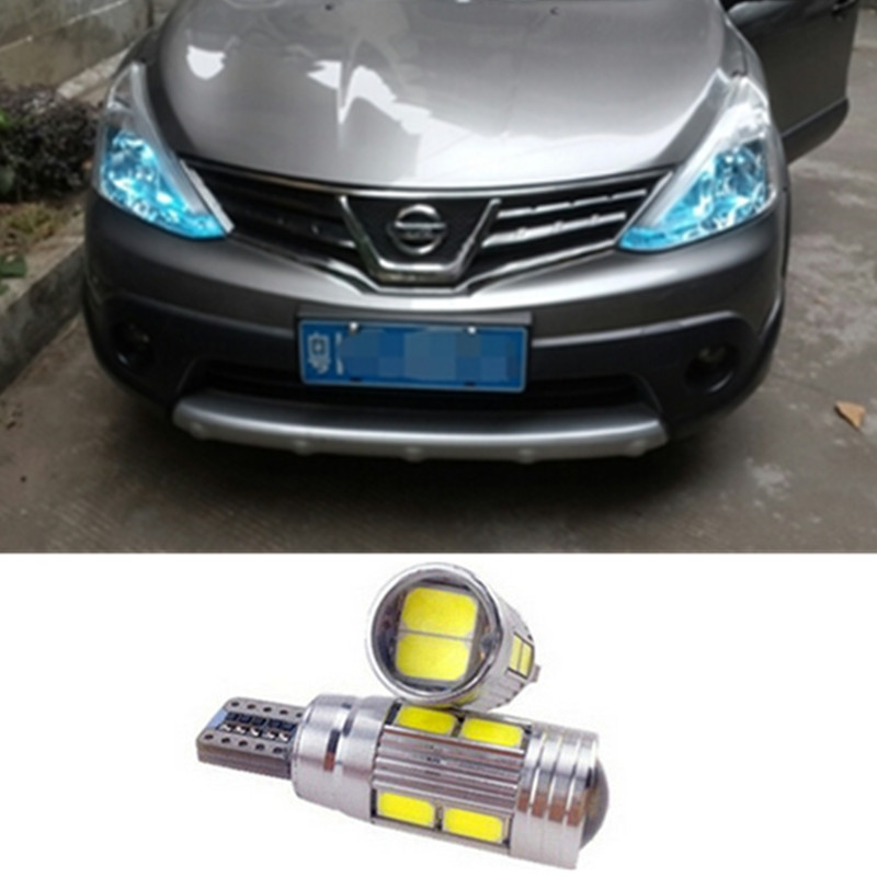 2 X T10 LED W5W Car LED Auto Lamp 12V Light bulbs with Projector Lens For nissan qashqai 2015 juke x-trail almera note tiida