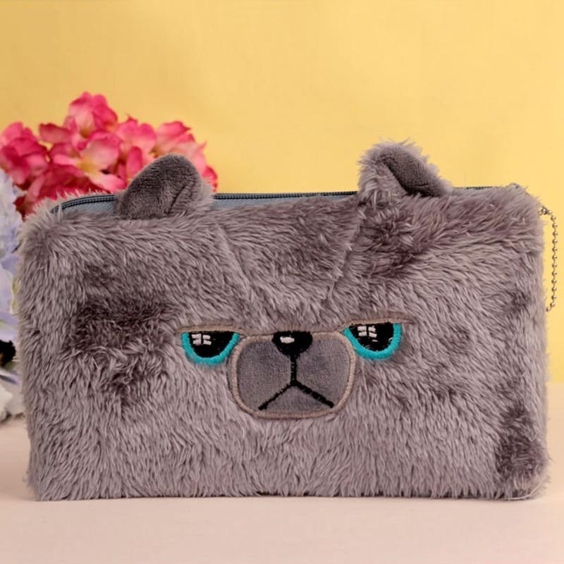 Bear pencil cases for girls Kawaii Plush panda pen font b bag b font stationery pouch