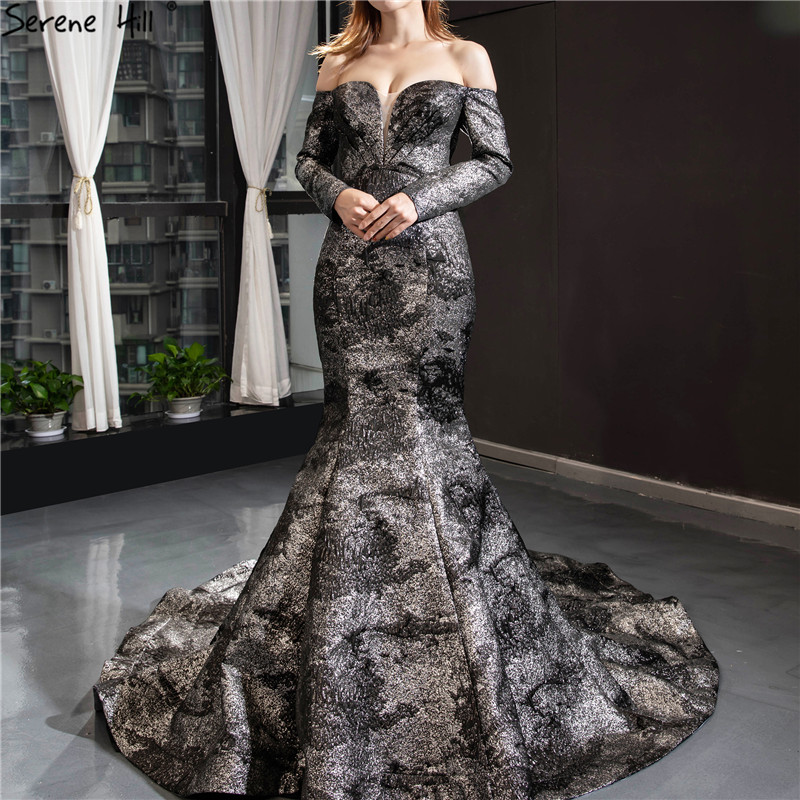 Black Silver Mermaid Long Sleeves Wedding Dresses 2019 Off Shoulder Sexy Simple Bride Wedding Gowns HM66840 Custom Made