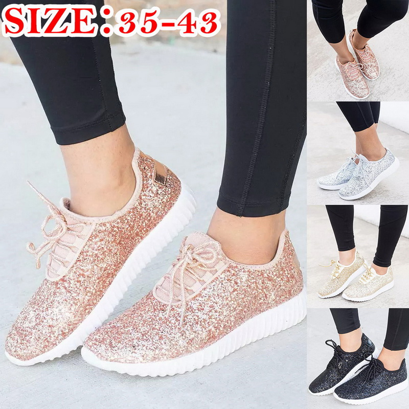 Women Walking Shoes 2019 Hot Spring Casual Sneaker Female Metallic Sequins Light Weight Jogging Athletic Shoes Women's Sneakers