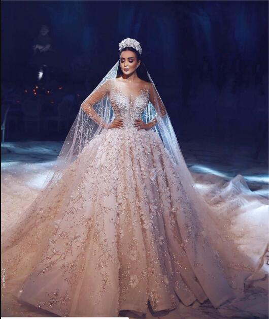 Image 4 - Dubai Luxury Crystal Wedding Dresses 2018 Shiny Beaded 3D Flower Wedding Gowns With Sheer Full Sleeves Pearls Vestido De Noiva-in Wedding Dresses from Weddings & Events