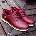 LIN REY Hombres Plana Zapatos Aumento de la Altura de LA PU Punta Redonda Gruesa Vestido de Ocio Zapatos de suela de Masaje Suave Bajo el Talón Del Tobillo Corto Zapatos