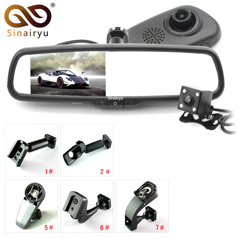 цена на Dual Lens 5 IPS Car Rearview Mirror Monitor DVR Digital Video Recorder 1080P with Original Bracket and Rear View Camera