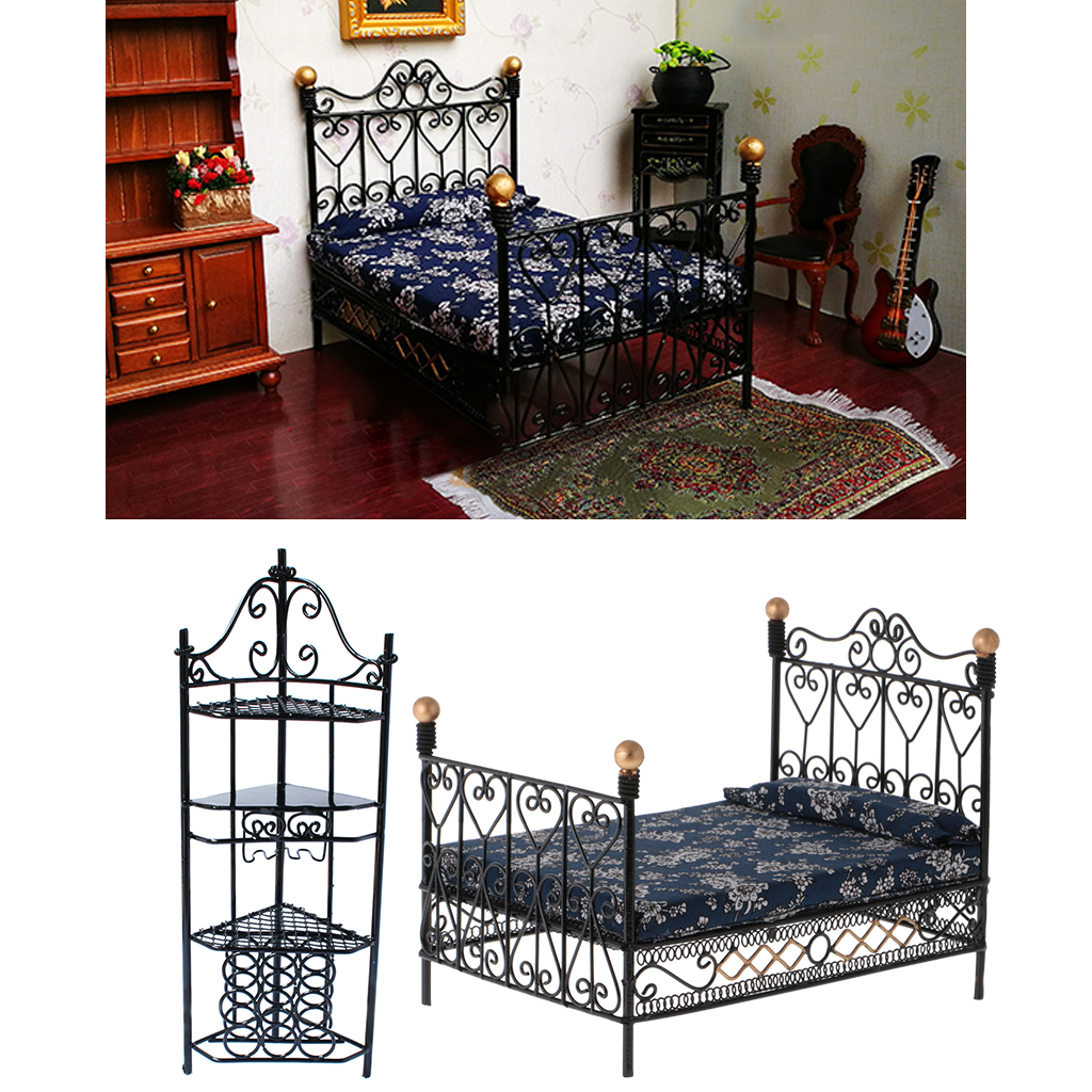 1:12 Dollhouse Miniature Metal Retro Double Bed Bedroom Furniture Toys