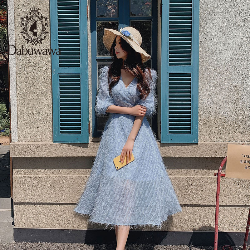 Dabuwawa Sweet V-Neck Maxi Dress Women Elegant Tassel Sweet Slim Long Fit and Flare Dress Female Lantern Sleeve DN1CDR044
