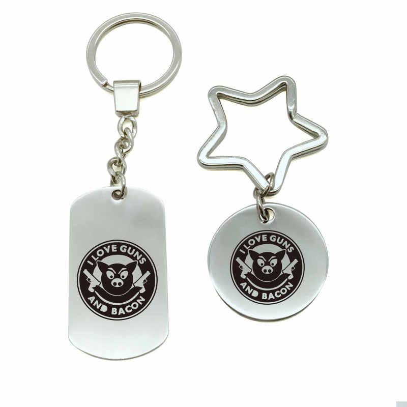 בעלי החיים אני אוהב רובים ובייקון מצחיק Keychain מתכת Keychain מפתח טבעת תיק זוג Keychain רכב Keyring מתנת גברים נשים c5-1314
