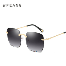 WFEANG Square Rimless Sunglasses Women Gradient Lens Transparent Clear Sun Glasses For Luxury Vintage Brand Big Ladies