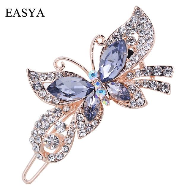 EASYA Mutlicolor Elegant Rhinestone Butterfly Barrettes Hair Clips Amazing Cryst