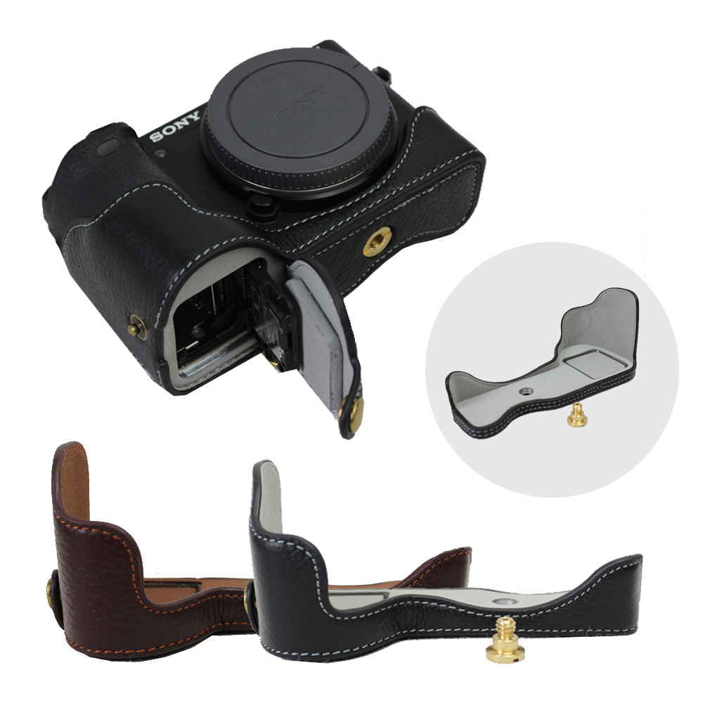 Genuine Leather <font><b>Camera</b></font> Case bag For <font><b>Sony</b></font> ILCE-<font><b>6500</b></font> A6500 <font><b>6500</b></font> Real Leather Half Body Set Bottom bag Cover With Battery Opening image
