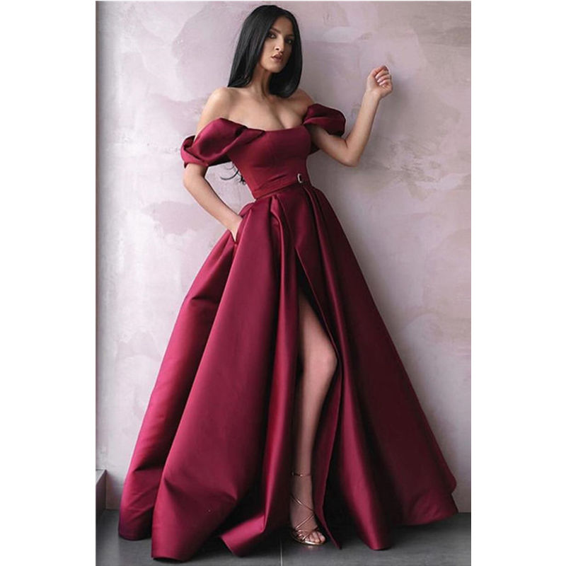 Vintage Burgundy Off-The-Shoulder Princess A-Line   Prom     Dress   New Side-Slit Empire Evening Gown Puff Sleeves Pleated Vestidos