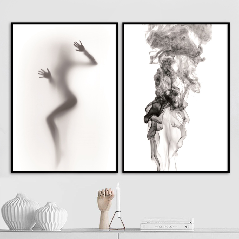 Abstract Girl Body Ink Painting Nordic Posters And Prints Wall Art Canvas Pop Pictures For Living Room Decor