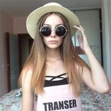 Xuyijun Lady Boater Sun Caps Ribbon Round Flat Top Straw Beach Hat