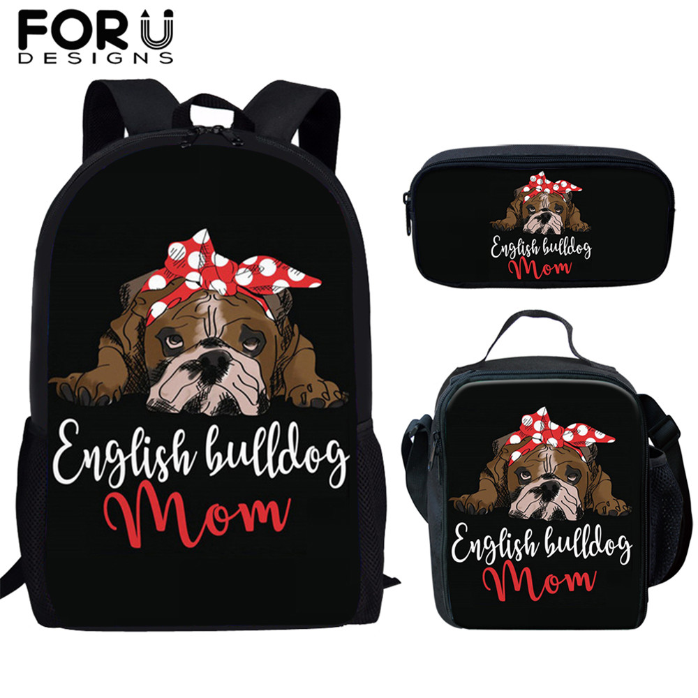 FORUDESIGNS 3 Pcs/set School Bags For kids Girl Student Backpack Cartoon Pug Dogs Horse Animal Print Bookbags Pencil Mujer
