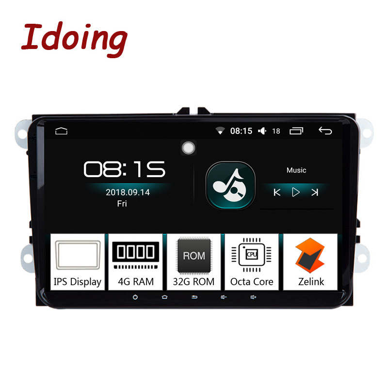 Idoing 92Din Car Android 8.0 Radio Multimedia Player Fit VW Skoda Seat Universal IPS Screen 4G+32G Octa Core GPS Navigation TV