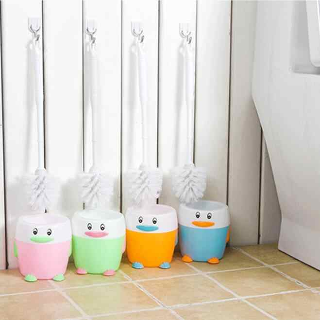 Cute Toilet Long Handle Brush + Holder Bathroom Hygiene ABS Toilet Cleaning Brush Washroom Brush Household Cleaning Brush Set
