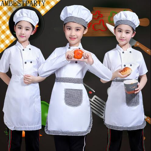 Hot Masquerade Clothes Children Chef Uniform Set Food Service Cooking Aprons Kitchen Cosplay Halloween Party Costume AMBESTPARTY