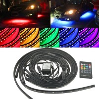 4pcs Car LED Strip Light RGB 5050 SMD LED Under Car Tube Strip Lights Underglow Underbody