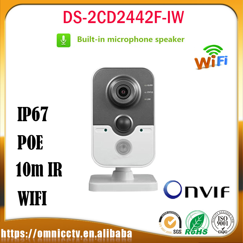 Hikvision 4MP WIFI IP Camera Monitor DS-2CD2442F-IW 1080P IR 10m Built-in mic DNR Night Version Indoor CCTV Surveillance Camera [ in stock ] hikvision overseas wireless ip camera indoor outdoor ds 2cd2442fwd iw 4mp wifi camera built in microphone