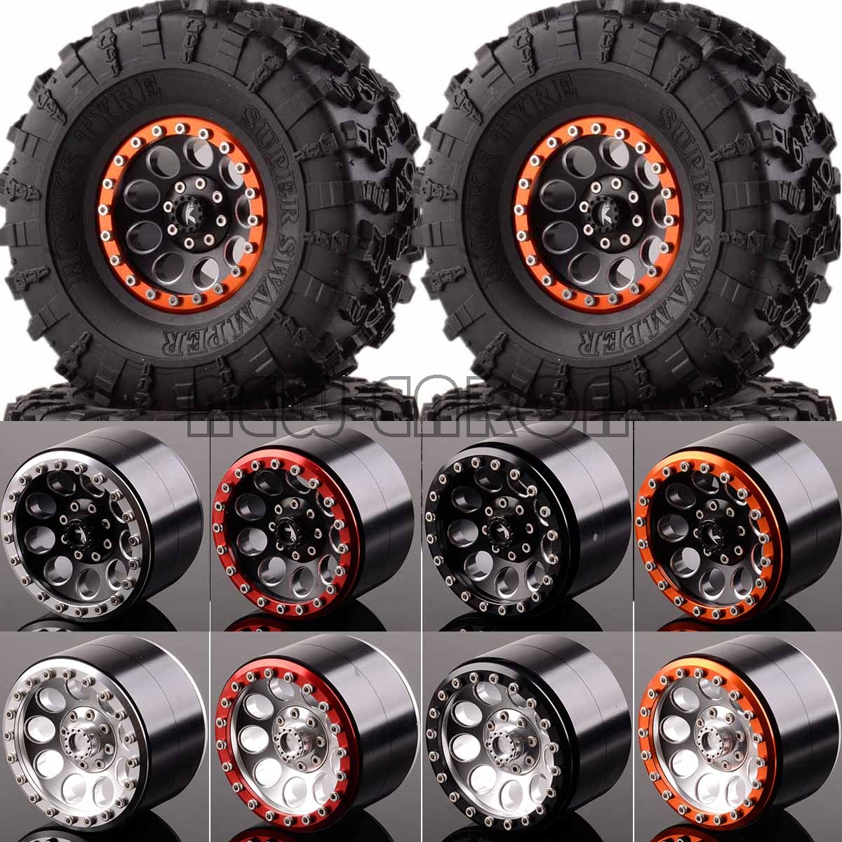 NEW ENRON Aluminum 2.2 Beadlock Wheels & TIRES 2020-3022 FOR Axial Yeti/Wraith RC Crawler mxfans rc 1 10 2 2 crawler car inflatable tires black alloy beadlock pack of 4