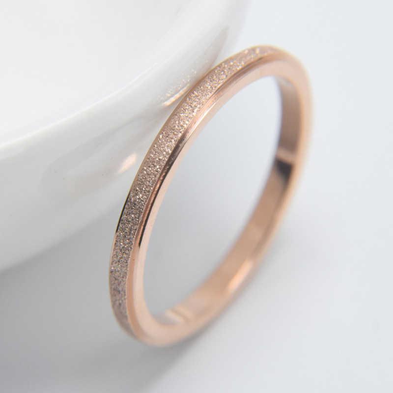 Knock alta qualidade moda simples esfrega anéis femininos de aço inoxidável 2 mm largura rosa cor ouro dedo presente para a menina jóias