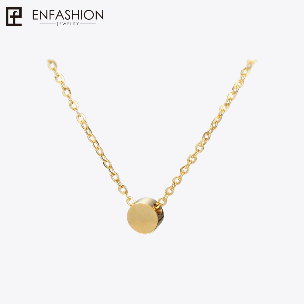 Enfashion Geometric Mini Circle Necklace Rose Gold Color Necklaces Pendants Stainless Steel Necklace Women chocker Jewelry chic multilayered coin geometric necklace for women