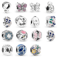 Silver Plated  Beads Charms Butterfly Tortoise Skull Shape For Women Pandora Original Bracelet DIY Jewelry Making