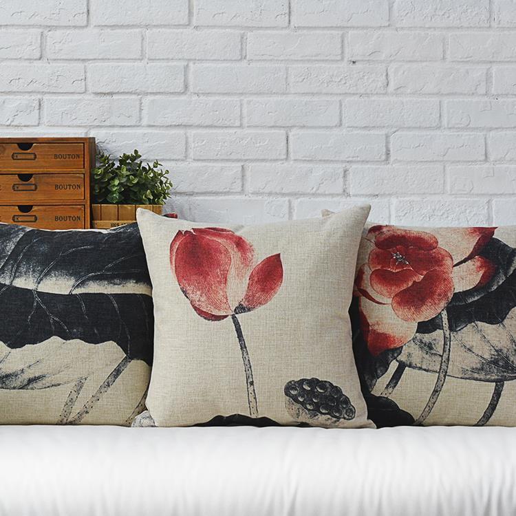 Creative Modern Retro Mahogany Sofa Ink Lotus Cotton Pillow Cushion  Linen Pillows Office Home Decorate Sofa Cushions