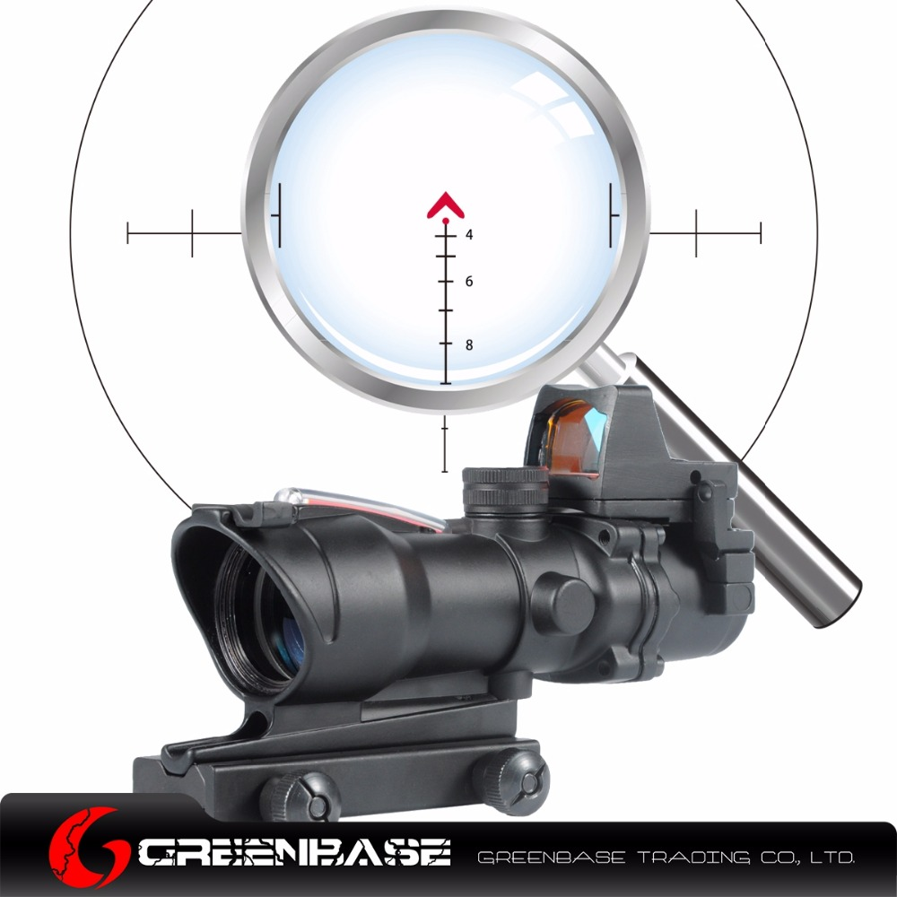 Greenbase ACOG 4X32 Chevron Reticle Fiber Optic Scope Riflescope Red Illuminated Sight Combo RMR Mirco Red Dot Sight 20mm Rail hunting 4 x 32 compact rifle scope fiber sight red dot scope with fiber optic sight for 20mm rail ulitity