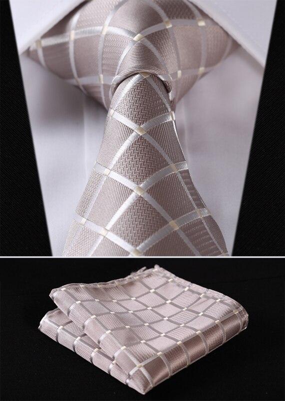"""TC442E8S Beige Check 3.4"""" Silk Woven Men Tie Necktie Handkerchief Set"""