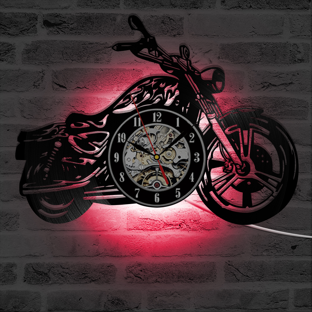 3D Creative Classic Vinyl Record Clock Motorcycle Harley Fans Gift Hollow Motorcycle Shape Wall Art Motorcycle Rider LED Clock