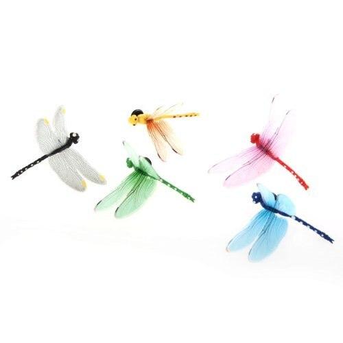 GSFY-5pcs 8cm 3D Artificial Dragonflies Luminous Fridge Magnet for Home Christmas Wedding Decoration, Colors Randomly Send 5