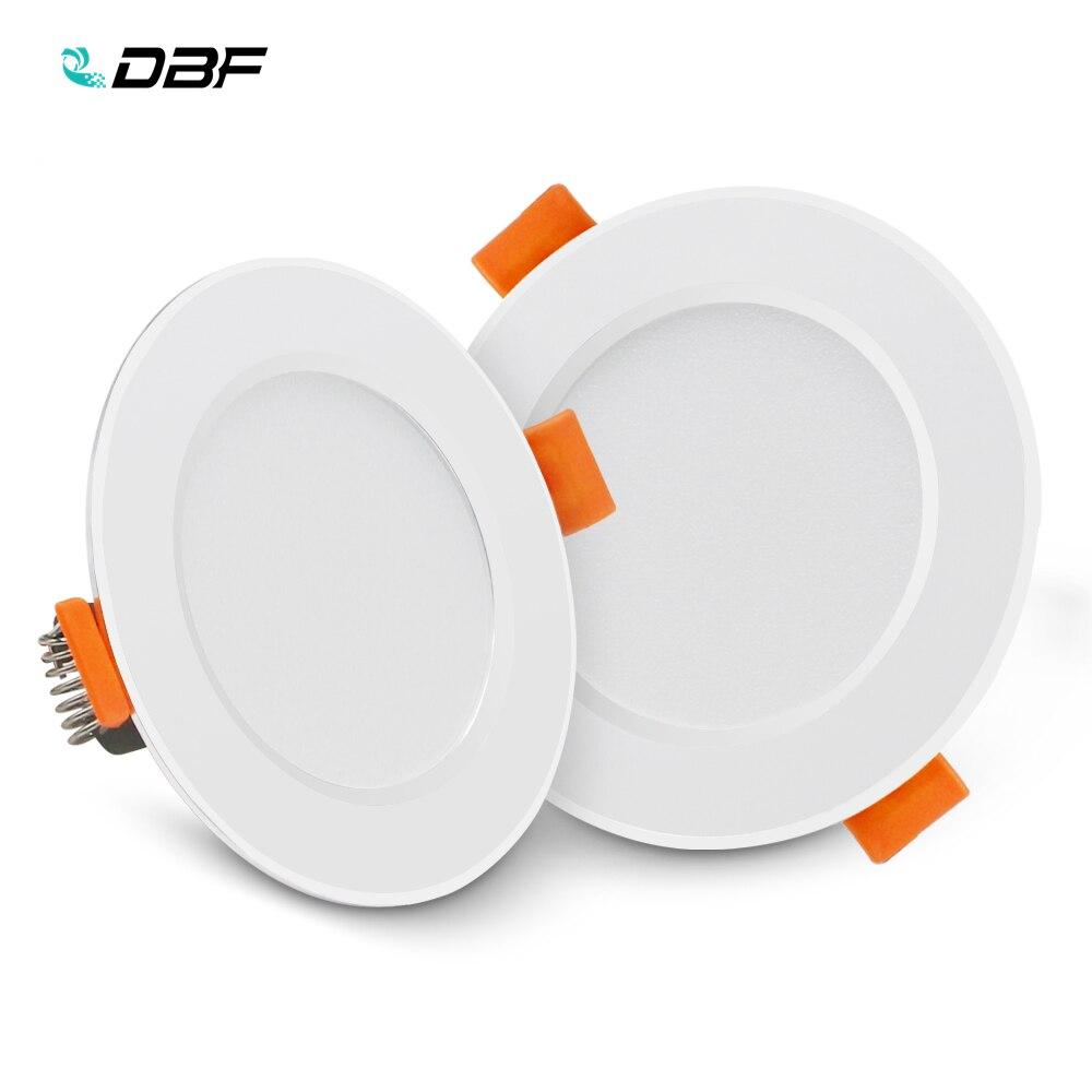 [DBF] Ultra cienki okrągły 2-in-1 SMD 2835 LED typu downlight 3W 5W 7W 9W 12W aluminium AC220V sterownik LED sufit wpuszczone światło punktowe