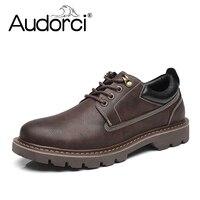 Audorci Winter Mann Freizeitschuhe Männer Arbeit PU Leder Schuhe Atmungsaktive Brettschuhe Lace-up Schuhe Größe 38-44