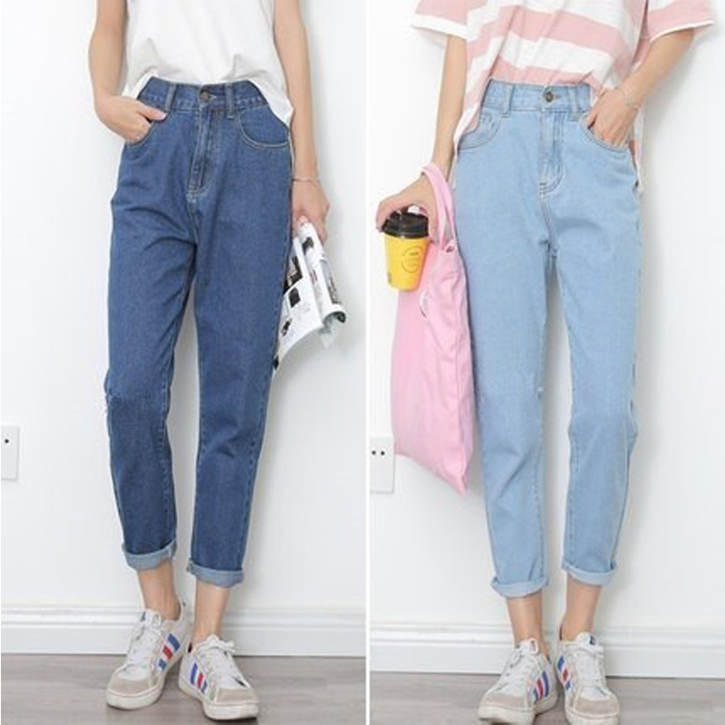 Free shipping 2019 new slim tights retro high waist   jeans   women's four seasons pants full length pants loose pencil   jeans   S-XXL
