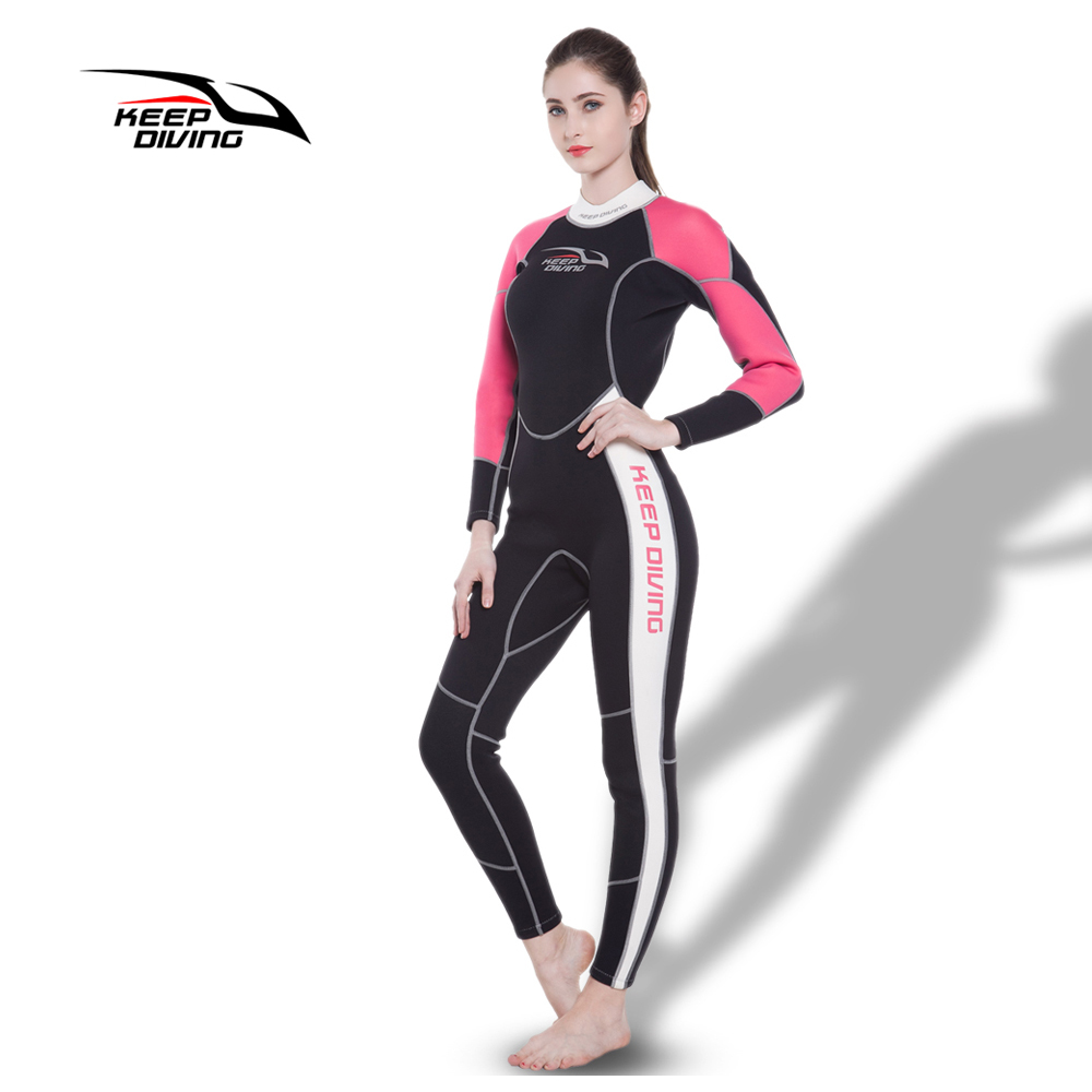 KEEP DIVING Womens 3MM Neoprene One-Piece Scuba Dive Wet Suit Wetsuits for Winter Swim Surfing Snorkeling Spearfishing Equipment sbart 3mm neoprene men s dive wetsuits one piece men spearfishing diving wet suits surf equipment back yzz zipper sport wetsuits