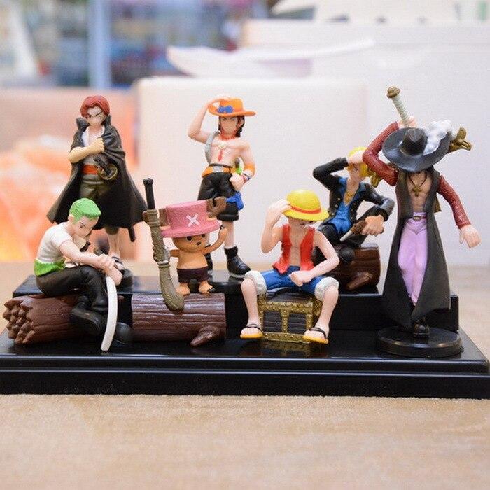 One Piece Luffy Zoro Mihawk Ace Sanji Shanks Chopper PVC Action Figure Toys Dolls 7pcs/lot free shipping