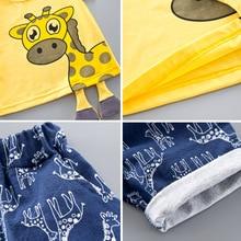Baby Boys Girls Clothing Set Giraffe Top Blue Shorts for 1-4Y