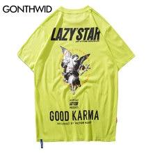 GONTHWID Angel Print Tshirts Streetwear 2019 Zomer Harajuku Mannen Hip Hop Casual Katoen Korte Mouwen T shirts Mannelijke Homme Tee tops