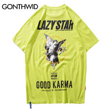 GONTHWID Engel Drucken T shirts Streetwear 2019 Sommer Harajuku Männer Hip Hop Casual Baumwolle Kurzarm T Shirts Männlichen Homme T tops