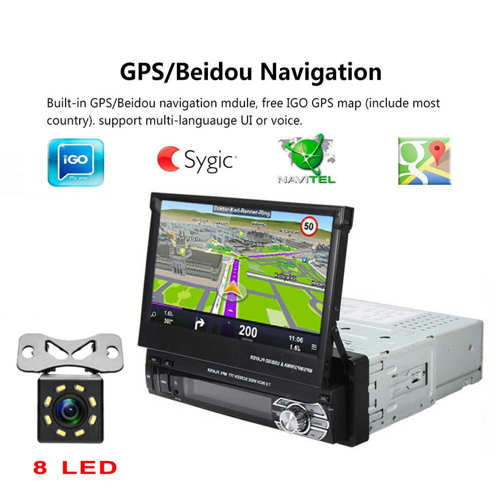 "Podofo 1 الدين 7 ""العالمي راديو السيارة لتحديد المواقع والملاحة Autoradio مشغل فيديو بلوتوث قابل للسحب شاشة تعمل باللمس MP5 ستيريو الصوت"