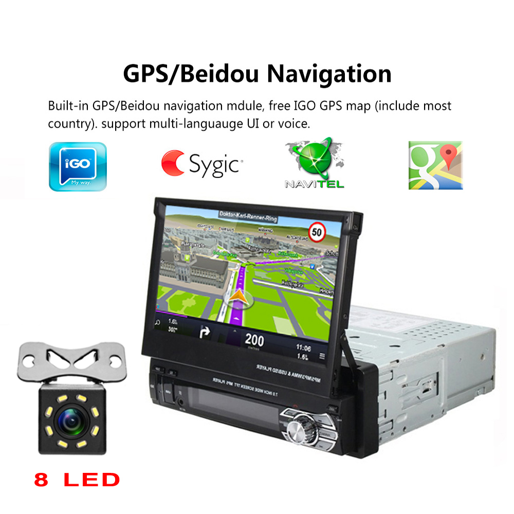 """Image 3 - Podofo 1 din 7"""" Universal Car Radio GPS Navigation Autoradio Video Player Bluetooth Retractable Touch Screen MP5 Stereo Audio-in Car Radios from Automobiles & Motorcycles"""