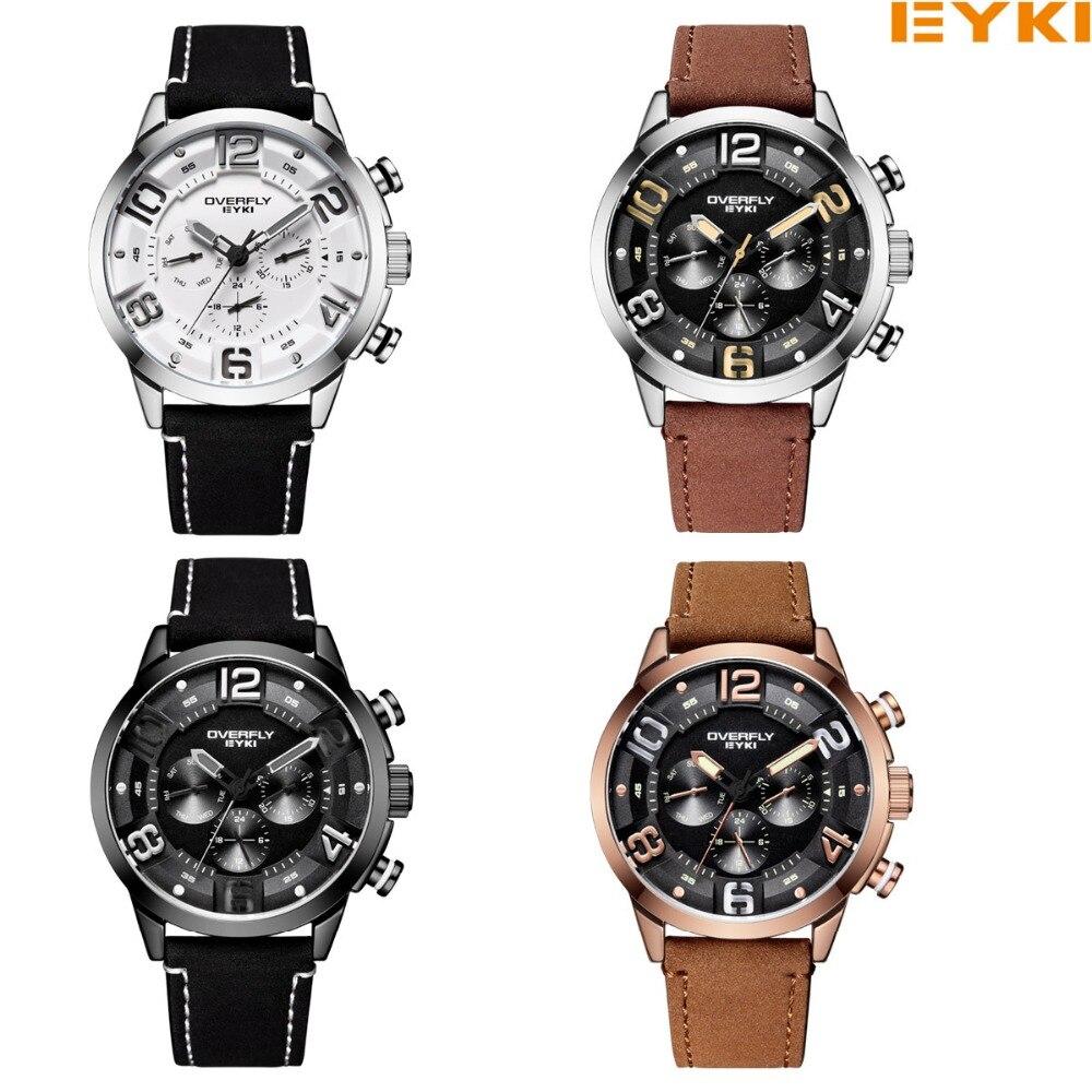 EYKI merk mannen kijken Casual lederen horloges Waterdicht quartz - Herenhorloges - Foto 6