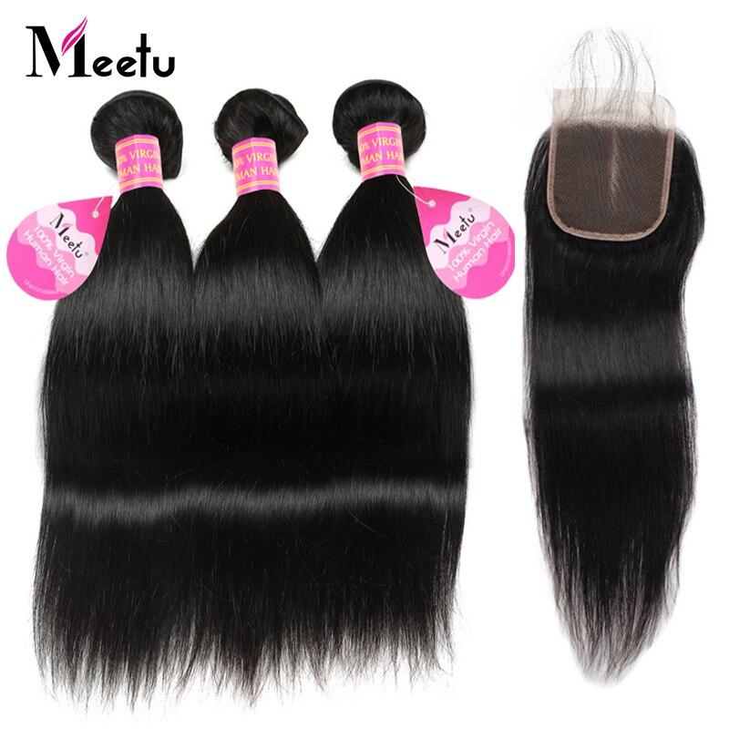 Meetu Peruvian Straight Hair with Closure 3 Bundles with Closure Peruvian Hair Bundles with Closure 100% Human Hair Non Remy