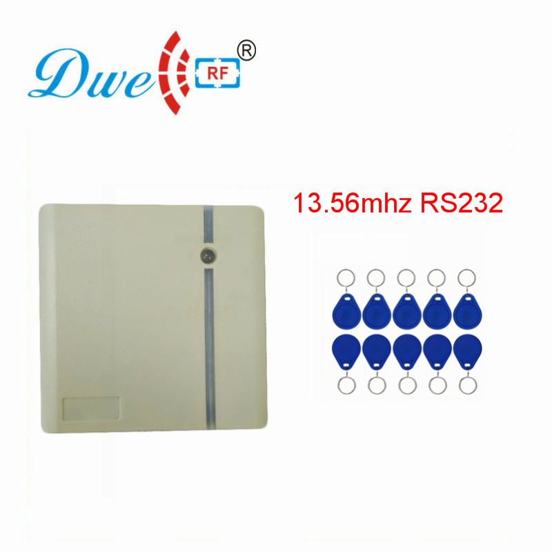 DWE CC RF Rfid Proximity Card Reader 13.56mhz MF Wiegand RS232 RS485 Scanner For Access Control System D203M dwe cc rf 2017 hot sell 13 56mhz 12v wg 26 rfid outdoor tag reader for security access control system