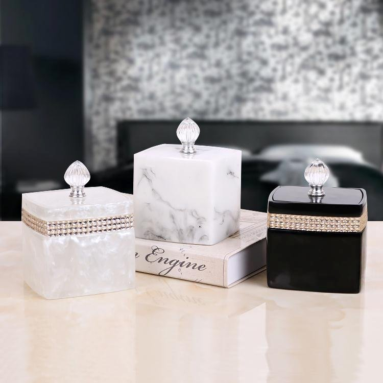 Fashion Simple Round Cotton Square Toothpick Storage Box with Crystal Rhinestone Desktop Storage Cassette Cover