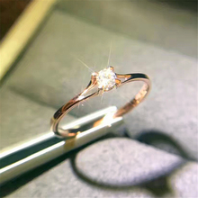LOREDANA Female Crystal Zircon Stone Ring Cute Small 925 Rose Gold Color Finger Promise Engagement Rings For Women