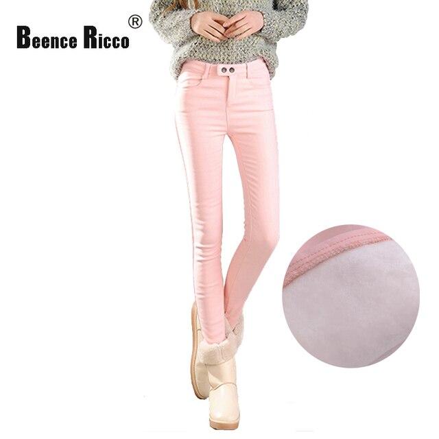 2016 новый зима теплая джинсы женщины розовый плюс размер хлопок толстый бархат высокой талией тощий карандаш джинсовые брюки моды
