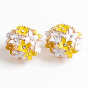 Korean Fashion Jewelry Sweet Bohemian Earrings Four Leaf Flower Gold Crystal Flower Earrings Women's Elegant Earrings