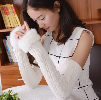 Female Fall Winter Arm Covers Plushing Thickening Half-finger Wool Lengthening Equipment High Quality Warm All-match Arm Covers